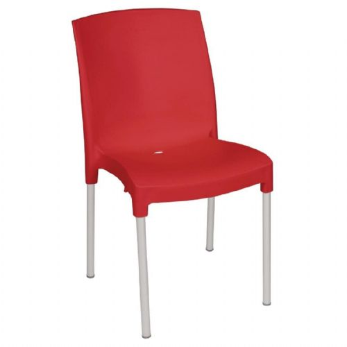 Bolero Stacking Bistro Side Chairs Red (Pack of 4) - GJ975
